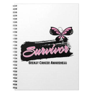 Mariposa del superviviente del cáncer de pecho libros de apuntes