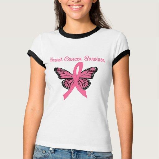 Mariposa del superviviente del cáncer de pecho remeras