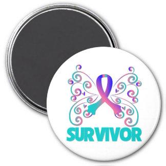 Mariposa del superviviente del cáncer de tiroides imán redondo 7 cm