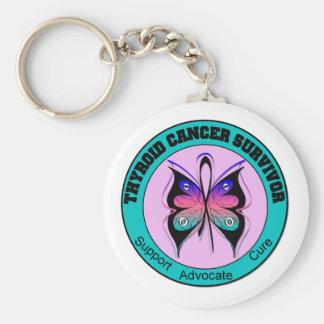 Mariposa del superviviente del cáncer de tiroides llaveros personalizados