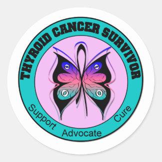 Mariposa del superviviente del cáncer de tiroides pegatinas redondas