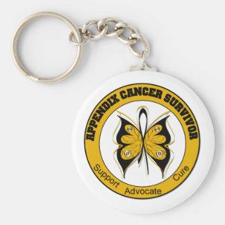 Mariposa del SUPERVIVIENTE del cáncer del apéndice Llaveros Personalizados