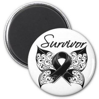 Mariposa del superviviente del cáncer del melanoma iman para frigorífico