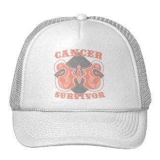 Mariposa del superviviente del cáncer endometrial gorro de camionero