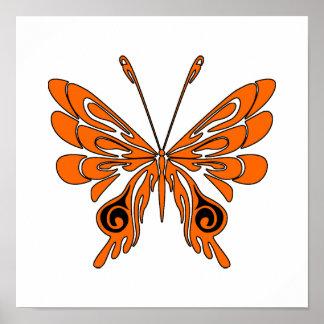 Mariposa del tatuaje de la llama impresiones