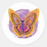Mariposa del teñido anudado pegatina redonda