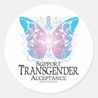 Mariposa del transexual etiquetas redondas