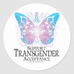 Mariposa del transexual pegatina redonda