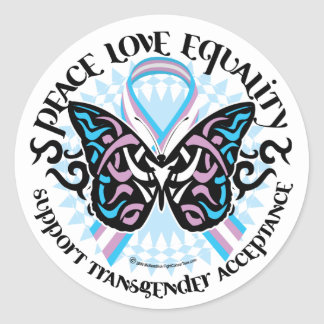 Mariposa del transexual tribal etiqueta redonda