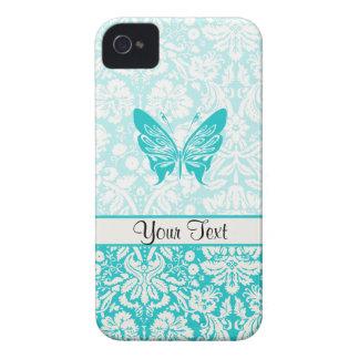 Mariposa del trullo; Modelo del damasco iPhone 4 Case-Mate Protectores