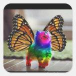 Mariposa del unicornio del gatito del arco iris pegatina cuadrada