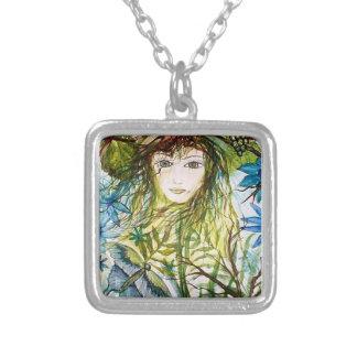 Mariposa del verde del arte de la fantasía de la n colgante cuadrado