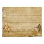 Mariposa del vintage de la tarjeta de la receta de tarjeta postal