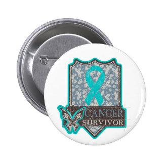Mariposa del vintage del superviviente del cáncer  pin redondo 5 cm