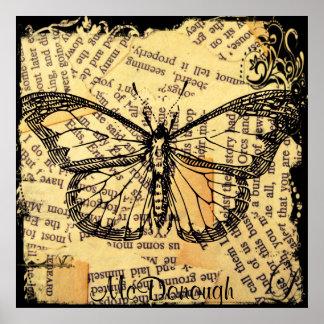 Mariposa del vintage en el papel poster