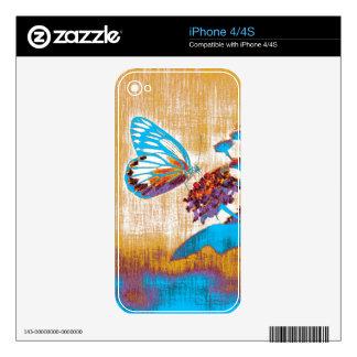 Mariposa del vintage en la flor 2 calcomanía para el iPhone 4