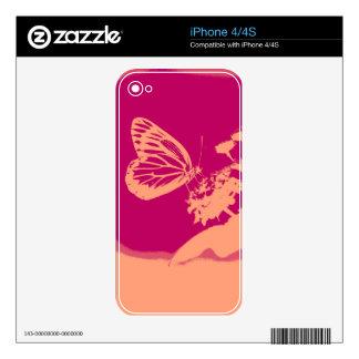 Mariposa del vintage en la flor calcomanías para iPhone 4