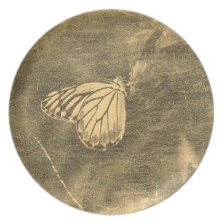 Mariposa del vintage en la placa de la flor #2 platos de comidas