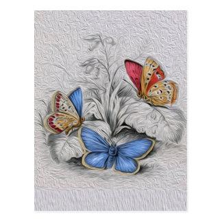 Mariposa del vintage que pinta mariposas rojas tarjetas postales