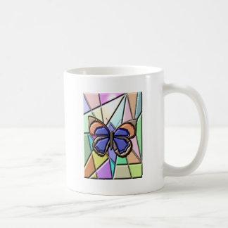 Mariposa del vitral taza de café