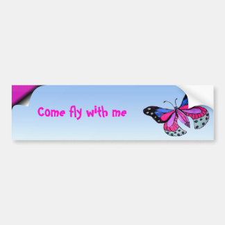 Mariposa del vuelo pegatina de parachoque