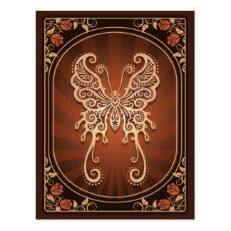 Mariposa delicada de Brown del vintage Tarjetas Postales