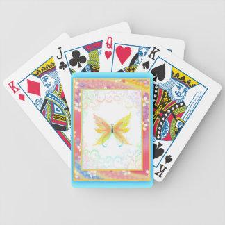 Mariposa delicada y flores japonesas en colores pa barajas de cartas