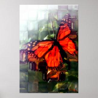 Mariposa detrás de la ventana póster