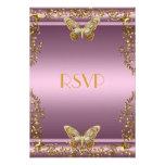 Mariposa elegante del oro del rosa del cumpleaños  invitacion personal