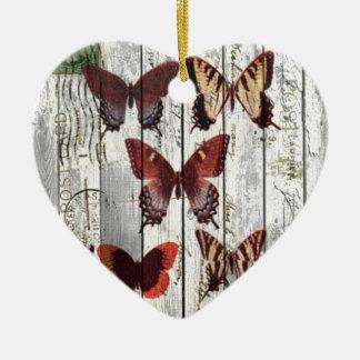 mariposa elegante lamentable francesa de madera adorno navideño de cerámica en forma de corazón