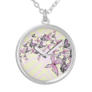 mariposa elegante París del vintage del reloj de b Colgantes Personalizados