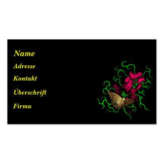 Mariposa en azucena con zarcillo verde bordo plantillas de tarjeta de negocio