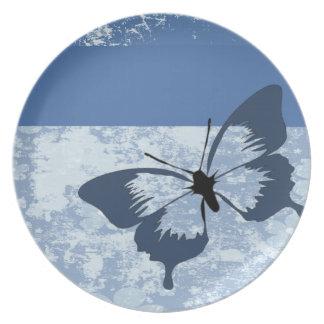 Mariposa en azul plato de cena