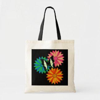 Mariposa en bolso de las flores bolsa tela barata