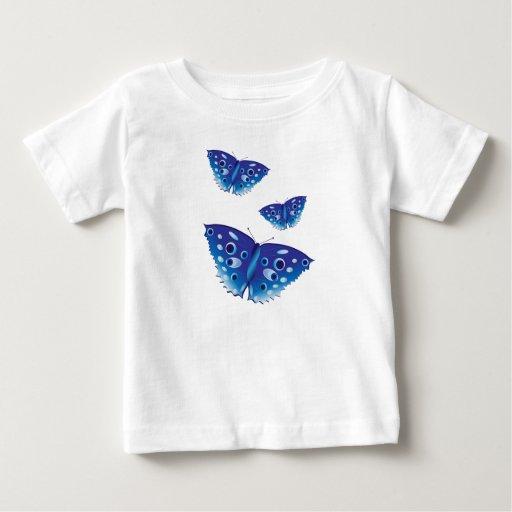 Mariposa en camiseta azul hermosa del niño de los playera para bebé