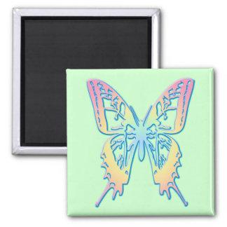 Mariposa en colores pastel imán cuadrado