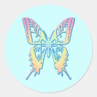 Mariposa en colores pastel pegatina redonda