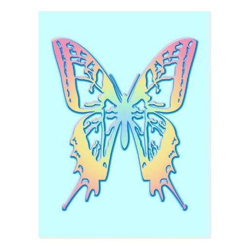 Mariposa en colores pastel postal