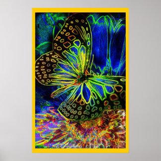 Mariposa en el arte de Digitaces de la flor Poster