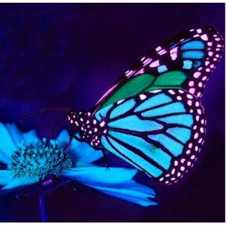 Mariposa en escultura ligera azul de la foto fotoescultura vertical