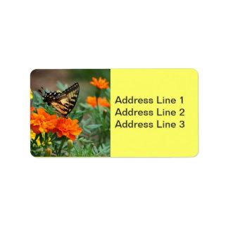 Mariposa en etiqueta anaranjada y amarilla de las  etiquetas de dirección