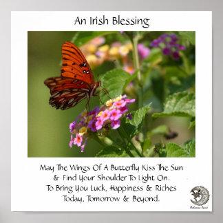 Mariposa en la bendición irlandesa del ~ de las fl póster