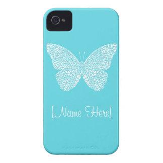 Mariposa - en la caja azul del iPhone 4 con su nom iPhone 4 Case-Mate Cobertura