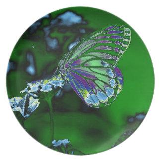 Mariposa en la flor - foto negativa plato para fiesta