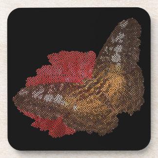 mariposa en la flor roja (imagen digital) posavasos de bebida