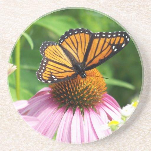 Mariposa en la flor rosada posavasos personalizados