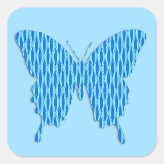 Mariposa en la impresión abstracta - sombras del a calcomanía cuadradas