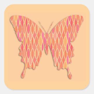 Mariposa en la impresión abstracta - sombras del n pegatinas cuadradas personalizadas