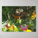 Mariposa en la impresión de la lona de las hojas impresiones