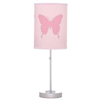 Mariposa en la impresión del papel pintado - rosa lámpara de mesa